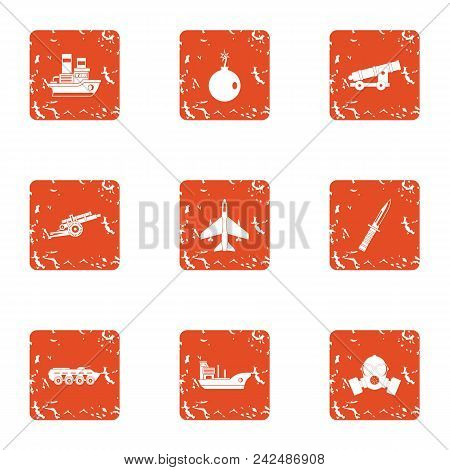 Technical War Icons Set. Grunge Set Of 9 Technical War Vector Icons For Web Isolated On White Backgr