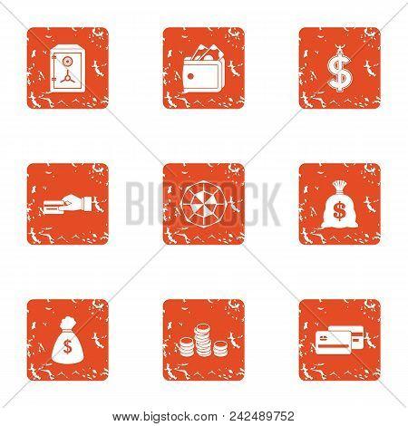 Payment Transaction Icons Set. Grunge Set Of 9 Payment Transaction Vector Icons For Web Isolated On