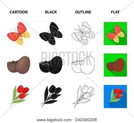 Chocolate Egg, Bells, Basket And Flowers.easter Set Collection Icons In Cartoon, Black, Outline, Fla