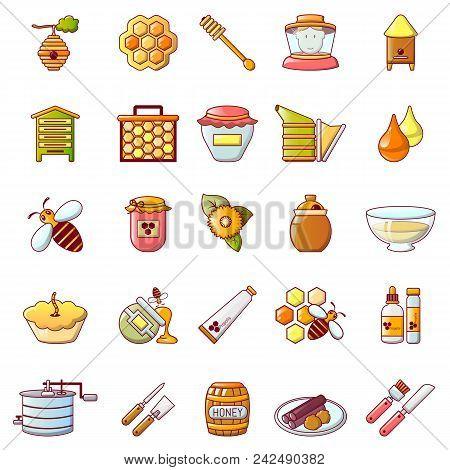 Propolis Honey Royal Jelly Icons Set. Cartoon Illustration Of 25 Propolis Honey Royal Jelly Vector I