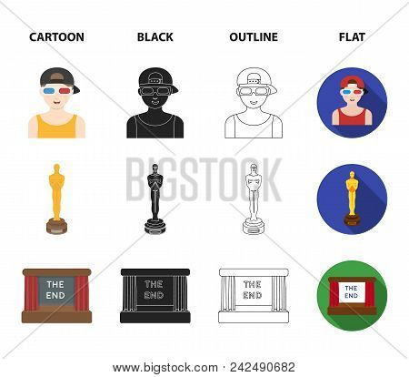 Award Oscar, Movie Screen, 3d Glasses. Films And Film Set Collection Icons In Cartoon, Black, Outlin