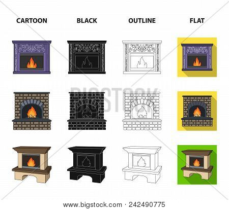 Fire, Warmth And Comfort.fireplace Set Collection Icons In Cartoon, Black, Outline, Flat Style Vecto