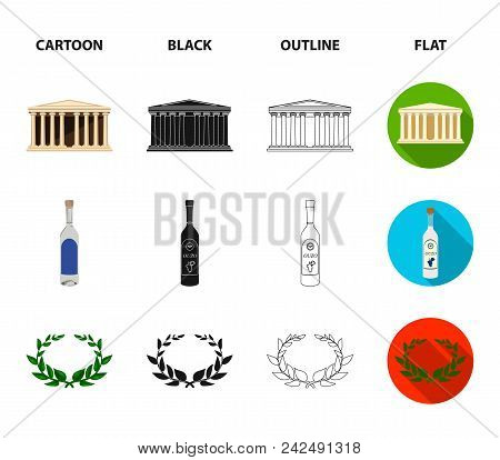 Greece, Country, Tradition, Landmark .greece Set Collection Icons In Cartoon, Black, Outline, Flat S