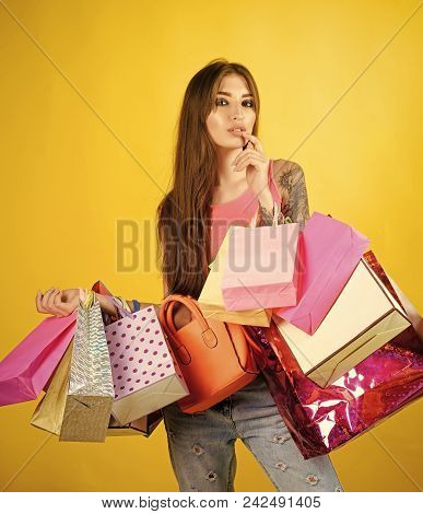 Woman Face Beauty. Woman Shopaholic With Paper Bags, Sale. Woman Shopper With Shopping Bags, Purchas