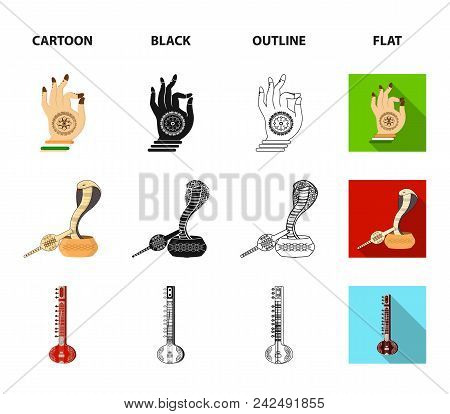 Country India Cartoon, Black, Outline, Flat Icons In Set Collection For Design.india And Landmark Ve