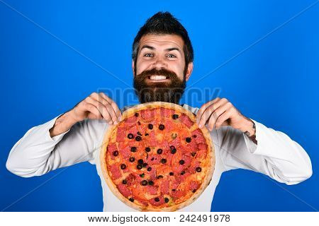 Pizza. Happy Bearded Man Holds Pizza. Food Concept. Ready To Eat. Smiling Bearded Man With Tasty Piz