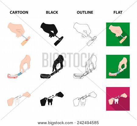 Anesthetic Injection, Dental Instrument, Hand Manipulation, Tooth Cleaning And Other  Icon In Cartoo