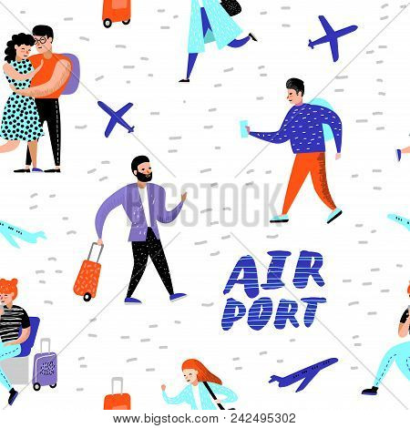 People Traveling By Plane Seamless Pattern. Cartoon Characters With Baggage In Airport Background Fo