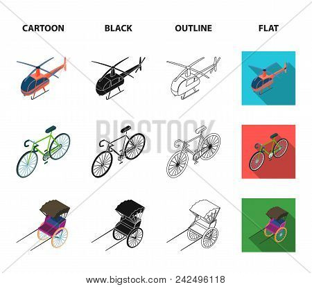 Bicycle, Rickshaw, Plane, Yacht.transport Set Collection Icons In Cartoon, Black, Outline, Flat Styl