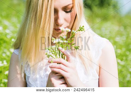 Beautiful Young Blonde Girl In Field Smelling Daisy In Hand, White, Transparent Dress, Blurred Backg