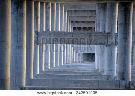A Bridge Under Structure Of Concrete Pilars And Beams