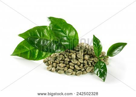 Green coffee beans isolated on a white background