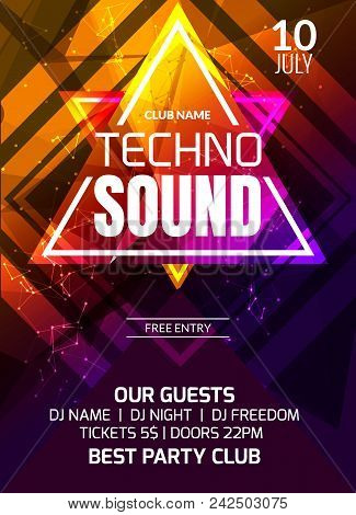 Techno Sound Music Party Template, Dance Party Flyer, Brochure. Party Club Creative Banner Or Poster