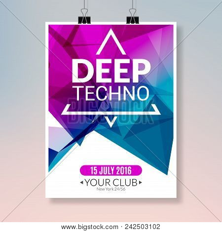 Deep Techno Dance Music Poster. Music Party Flyer Banner Design. Disco Night Club Event Template.