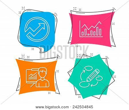 poster of Set of Audit, Infochart and Presentation icons. Keywords sign. Arrow graph, Stock exchange, Education board. Marketing strategy.  Flat geometric colored tags. Vivid banners. Trendy graphic design