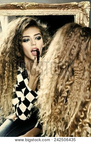 Women Face Skin Care. Portrait Women Face In Your Advertisnent. Portrait Closeup Beautiful Sensual Y