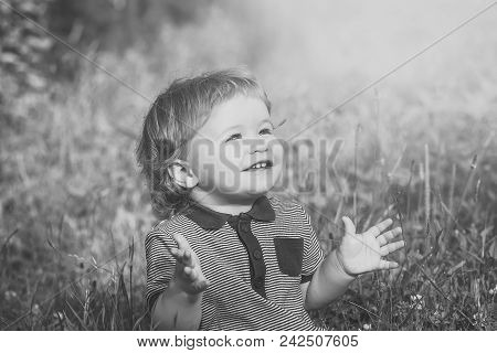Fashion Young Kid Model Fece Close Up. Face Female Kid Wiht Happy Emotion. Little Cute Happy Smiling