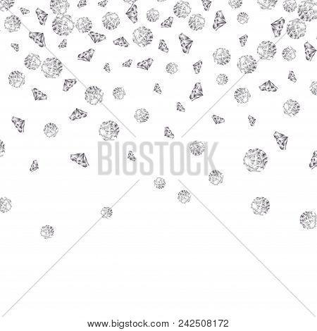 Shiny Diamond Gems Falling Isolated. Beautiful Luxury Jewelry Brilliant Elegance Glowing Stones.