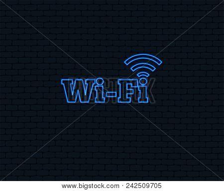 Neon Light. Free Wifi Sign. Wifi Symbol. Wireless Network Icon. Wifi Zone. Glowing Graphic Design. B