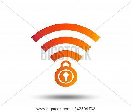 Wifi Locked Sign. Password Wi-fi Symbol. Wireless Network Icon. Wifi Zone. Blurred Gradient Design E