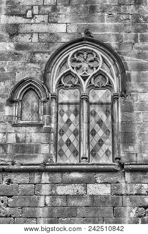 Medieval window of Palau Reial Major in Placa del Rei, public square of the Gothic Quarter in Barcelona, Catalonia, Spain poster