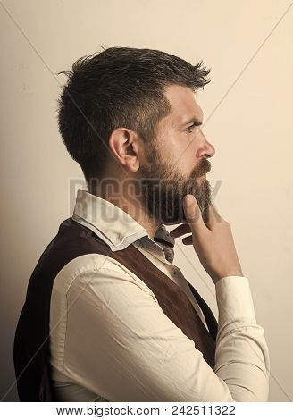 Male Face. Issues Affecting Boy. Man With Long Beard And Mustache On Thoughtful Face. Hipster In Shi
