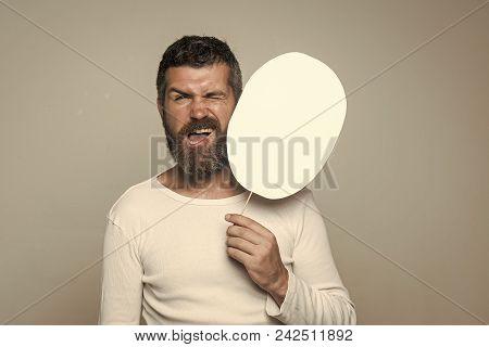 Boy Powered. Issues Face Boys. Fun Faces. Man With Long Beard And Mustache. Hipster With Winking Fac