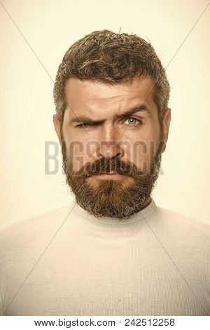 Serious Man. Man With Long Beard And Mustache. Guy Or Bearded Man Isolated On White Background. Barb