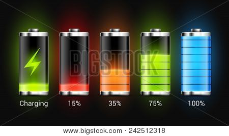 Battery Charge Design. Full Charge Energy For Mobile Phone. Accumulator Indicator Vector Icon Of Pow