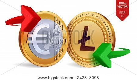 Litecoin To Euro Currency Exchange. Litecoin. Euro Coin. Cryptocurrency. Golden Coins With Litecoin