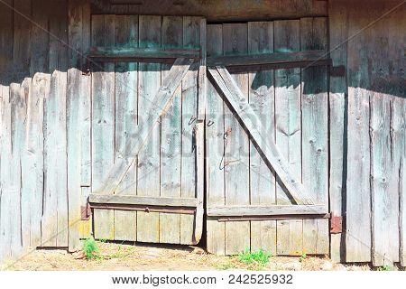 Old Scrappy Doors, Black And White Image.