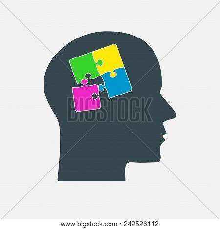 Colorful Puzzle Piece Silhouette Head - Vector Illustration. Jigsaw Blank Template. Vector Puzzle Ob