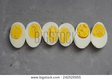 Hard Half Boiled Eggs, Sliced In Halves Food Ingredient Preparation Gray Textured