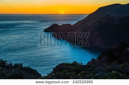 Headlands: Sunset At Marin County Headlands Overlooking Golden Gate Bridge, San Francisco, Californi
