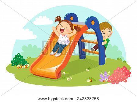 Vector Illustration Of Cute Kids Having Fun On Slide In Playground