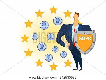 Gdpr Compliance. Personal Data Security. Shielded Man Protecting Personal Accounts In Front Of Europ