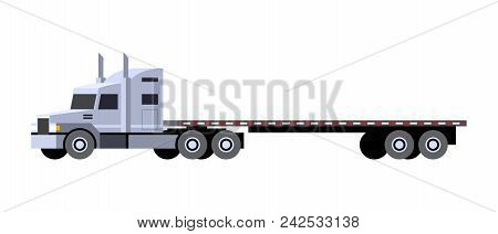 Minimalistic Icon Flatbed Trailer Tractor Front Side View. Semi Trailer Vehicle. Vector Isolated Ill