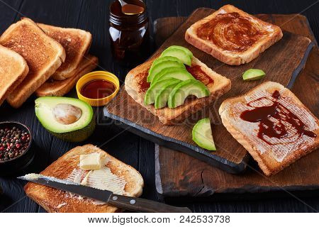 Salty Toasts With Butter, Avocado, Yeast Spread
