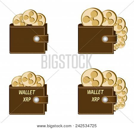 Set Of Brown Wallets With Ripple Coins On A White Background , Crypto Currency In The Wallet,sign  C