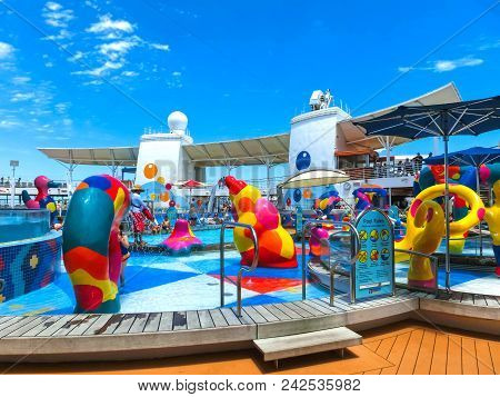 Cape Canaveral, Usa - April 29, 2018: The Upper Deck With Swimming Pools At Cruise Liner Or Ship Oas