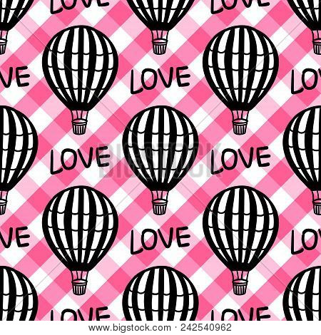 Vector Seamless Pattern Hot Air Balloon On The Checkered Pink Vichy Texture