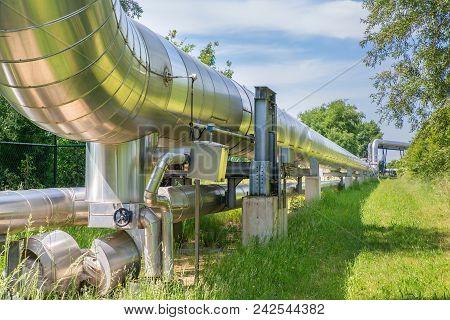 Big Metal Gas Pipeline Distributing Gas In Nature
