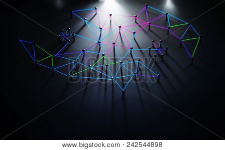 Linking entities. Networking, social media, SNS, internet communication abstract. Network connected with incom. Web glowing blue, green, red, purple wires in the dark with incoming light. Shallow DOF.