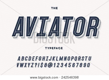 Aviator Trendy Typeface. Font Modern Typography Sans Serif Style For Party Poster, Printing On Fabri