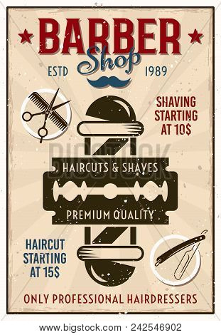 Barber Shop Vintage Colored Poster With Pole And Razor Blade Vector Illustration