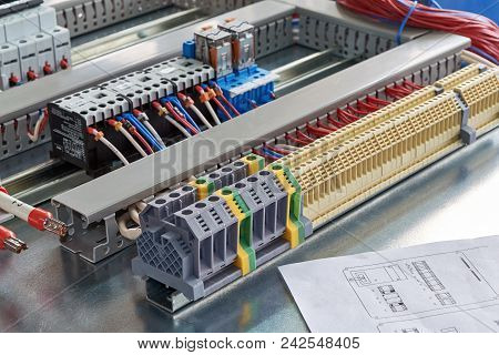 Terminals, Contactors, Relays, Circuit Breakers And Electrical Cabinet Drawing. Electrical Wires Or