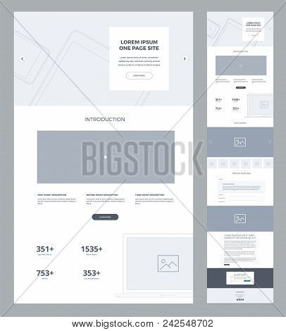 One Page Website Design Template For Business. Landing Page Wireframe. Flat Modern Responsive Design