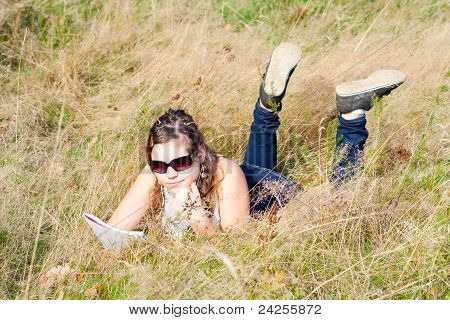 Girl studying fine nature