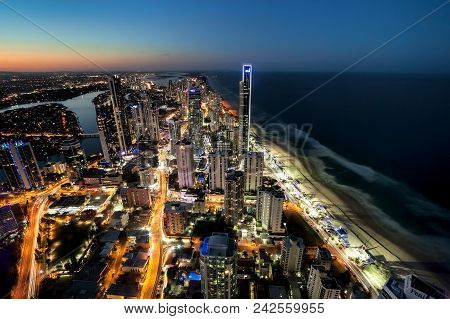 Surfers Paradise - April 18:  Aerial View Of Surfers Paradise At Night, One Of The Most Popular Holi