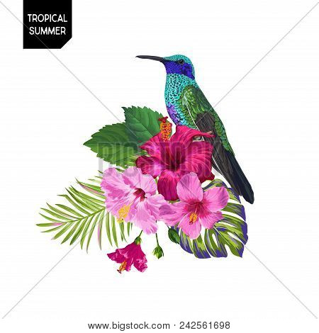 Summer Tropical Design With Hummingbird And Exotic Flowers. Floral Background With Tropic Bird, Hibi